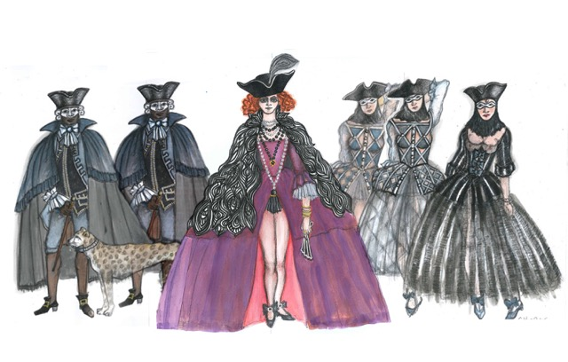 Giulietta,courtesans and footmen from Tales of Hoffman - Katherine Touart
